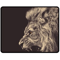 Angry Male Lion Double Sided Fleece Blanket (medium)