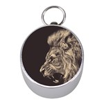 Angry Male Lion Mini Silver Compasses Front