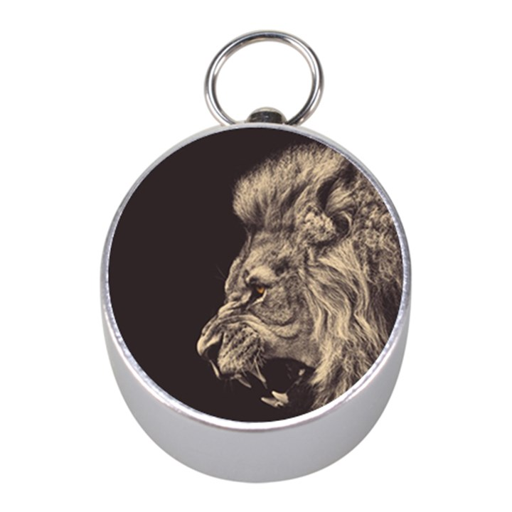 Angry Male Lion Mini Silver Compasses
