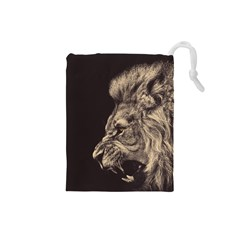 Angry Male Lion Drawstring Pouches (small)