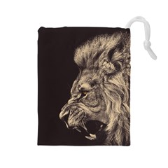 Angry Male Lion Drawstring Pouches (large)