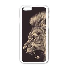 Angry Male Lion Apple Iphone 6/6s White Enamel Case