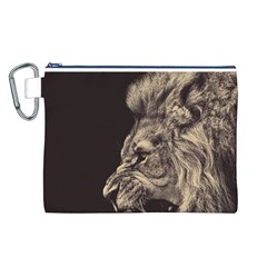 Angry Male Lion Canvas Cosmetic Bag (l)