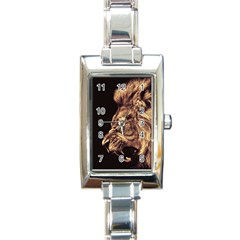 Angry Male Lion Gold Rectangle Italian Charm Watch