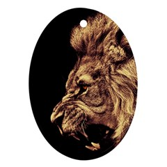 Angry Male Lion Gold Ornament (oval)