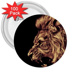 Angry Male Lion Gold 3  Buttons (100 Pack)