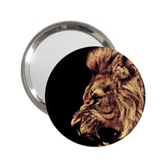 Angry Male Lion Gold 2 25  Handbag Mirrors