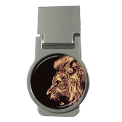 Angry Male Lion Gold Money Clips (round)
