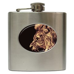 Angry Male Lion Gold Hip Flask (6 Oz)