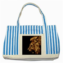 Angry Male Lion Gold Striped Blue Tote Bag
