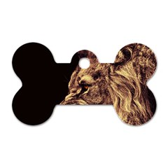 Angry Male Lion Gold Dog Tag Bone (one Side)