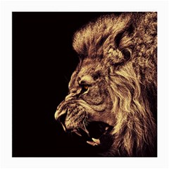 Angry Male Lion Gold Medium Glasses Cloth