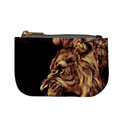 Angry Male Lion Gold Mini Coin Purses