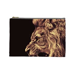 Angry Male Lion Gold Cosmetic Bag (large)