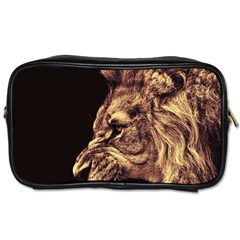Angry Male Lion Gold Toiletries Bags