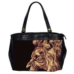 Angry Male Lion Gold Office Handbags (2 Sides)