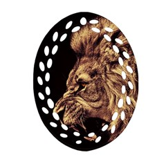 Angry Male Lion Gold Oval Filigree Ornament (two Sides)