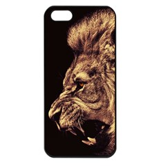 Angry Male Lion Gold Apple Iphone 5 Seamless Case (black)
