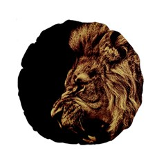 Angry Male Lion Gold Standard 15  Premium Round Cushions