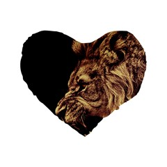 Angry Male Lion Gold Standard 16  Premium Heart Shape Cushions
