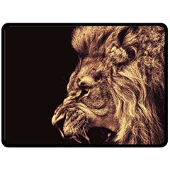 Angry Male Lion Gold Double Sided Fleece Blanket (large)