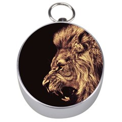 Angry Male Lion Gold Silver Compasses