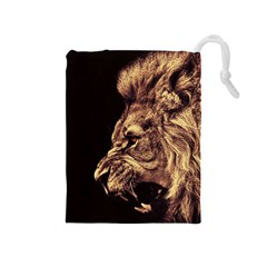 Angry Male Lion Gold Drawstring Pouches (medium)
