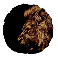 Angry Male Lion Gold Large 18  Premium Flano Round Cushions