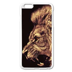 Angry Male Lion Gold Apple Iphone 6 Plus/6s Plus Enamel White Case