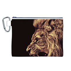 Angry Male Lion Gold Canvas Cosmetic Bag (l)