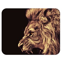 Angry Male Lion Gold Double Sided Flano Blanket (medium)