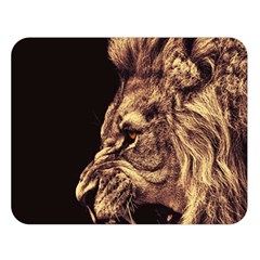 Angry Male Lion Gold Double Sided Flano Blanket (large)