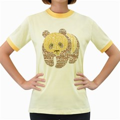 Panda Typography Women s Fitted Ringer T Shirts