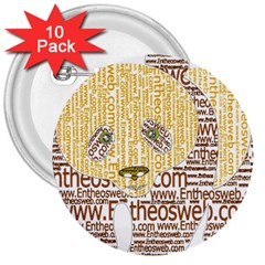 Panda Typography 3  Buttons (10 Pack)