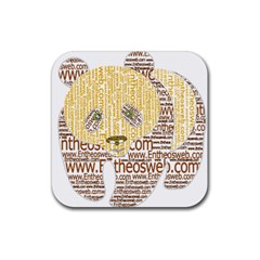Panda Typography Rubber Coaster (square)