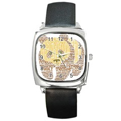 Panda Typography Square Metal Watch
