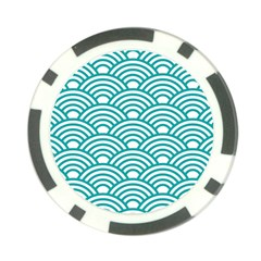 Art Deco Teal Poker Chip Card Guard (10 Pack)