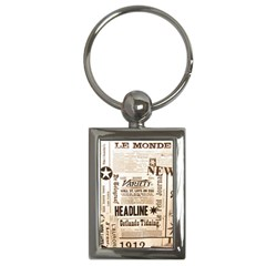 Vintage Newspapers Headline Typography Key Chains (rectangle)
