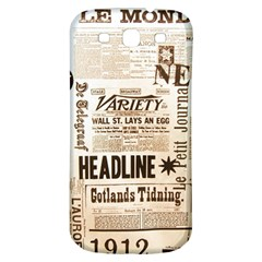 Vintage Newspapers Headline Typography Samsung Galaxy S3 S Iii Classic Hardshell Back Case