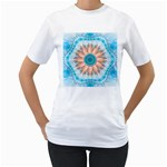 Clean And Pure Turquoise And White Fractal Flower Women s T-Shirt (White) (Two Sided) Front