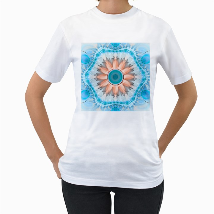 Clean And Pure Turquoise And White Fractal Flower Women s T-Shirt (White) (Two Sided)