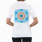 Clean And Pure Turquoise And White Fractal Flower Women s T-Shirt (White) (Two Sided) Back