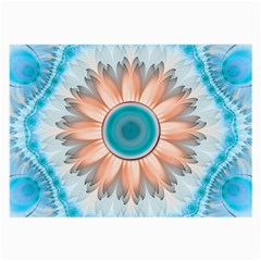 Clean And Pure Turquoise And White Fractal Flower Large Glasses Cloth