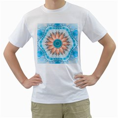 Clean And Pure Turquoise And White Fractal Flower Men s T Shirt (white)