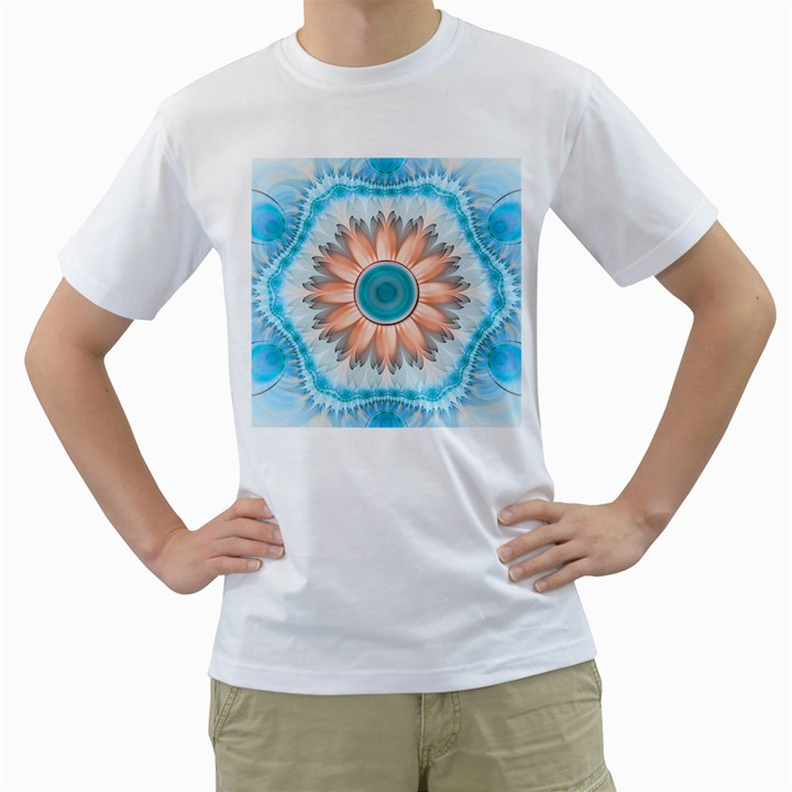 Clean And Pure Turquoise And White Fractal Flower Men s T-Shirt (White)