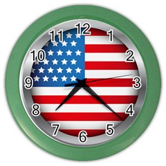 United Of America Usa Flag Color Wall Clocks