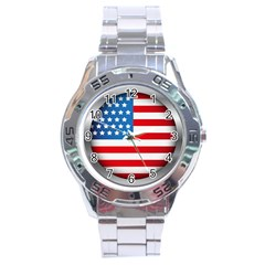 United Of America Usa Flag Stainless Steel Analogue Watch