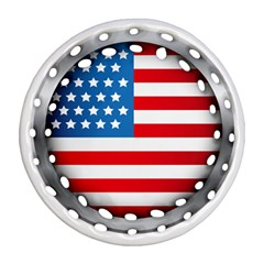 United Of America Usa Flag Round Filigree Ornament (two Sides)