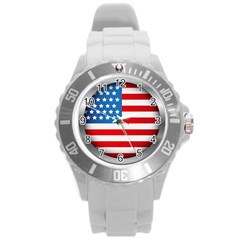 United Of America Usa Flag Round Plastic Sport Watch (l)