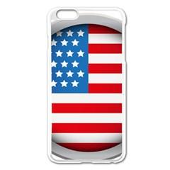 United Of America Usa Flag Apple Iphone 6 Plus/6s Plus Enamel White Case